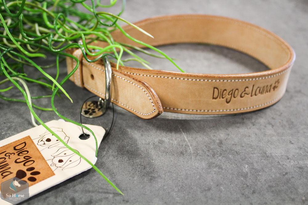 collier chien cuir naturel