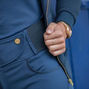 A Tiss B - femme - pantalon romy - pantalon bleu - bouton à pression