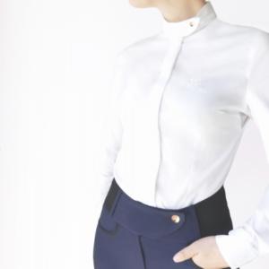 A Tiss B - col à bouton - chemise - concours - blanc - femme - pantalon bleu marine